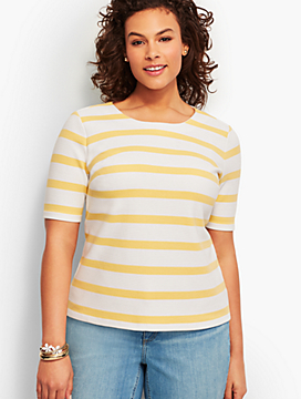 Lace-Up Back Stripe Tee