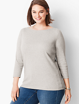 Pima Cotton  Bateau Neck Tee-Heather