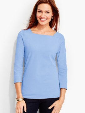 Three-Quarter-Sleeve Square-Neck Tee-The Studio Tee