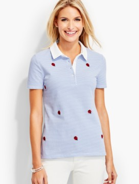 The Pique Polo-Embroidered Ladybug & Stripes