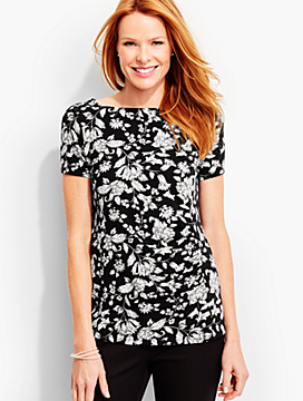 Ruched Bateau Tee-Woodcut Vines