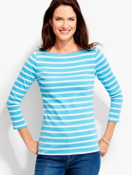 Three-Quarter-Sleeve Bateau Neck-Wellesley Stripes-The Talbots Tee