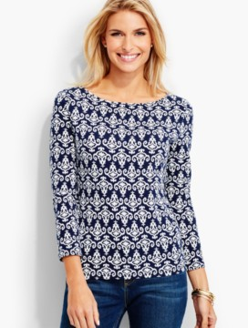 Three-Quarter-Sleeve Bateau Neck Tee-Abstract Bi-Color Print-The Talbots Tee