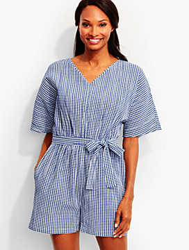 Crinkled Cotton Gingham Romper