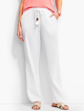 Crinkled-Cotton Beach Pant