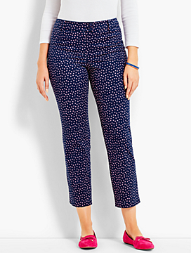 Double Button-Tab Perfect Crop - Curvy Fit/Dots