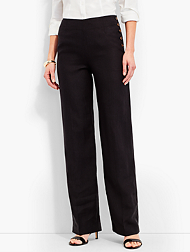 Side-Button Linen Palazzo Pant