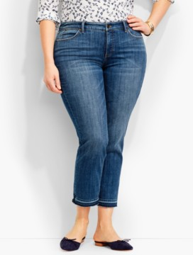 The Flawless Five-Pocket Frayed-Hem Crop-Rip Tide Wash