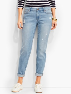 The Flawless Five-Pocket Gently Distressed Boyfriend-Cool Vista Wash