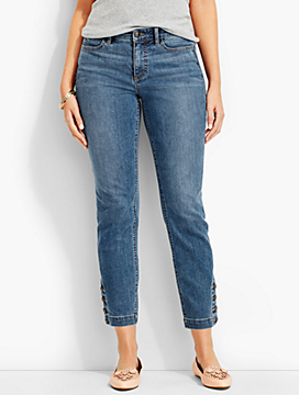 The Flawless Five-Pocket Button-Ankle Jean-Curvy Fit/Clear Sailing Wash