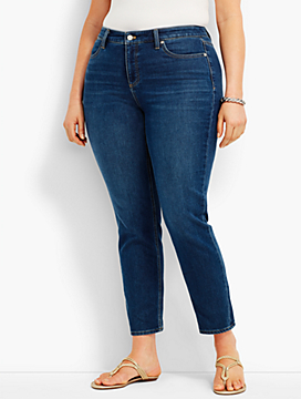 Woman Exclusive: Five-Pocket Slim Ankle Knit Denim-Americana Wash