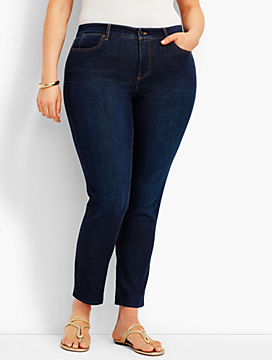 Woman Exclusive: Five-Pocket Slim Ankle Knit Denim-Victory Wash
