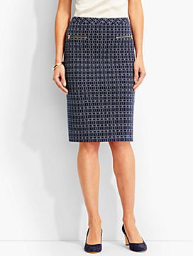 Geo-Oval Pencil Skirt