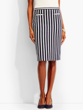 Sailing-Stripe Pencil Skirt
