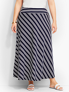 Island-Stripe Maxi Skirt