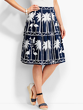 Flamingo-Print Pleated Skirt