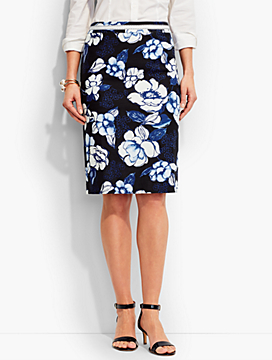 Poppies Pencil Skirt
