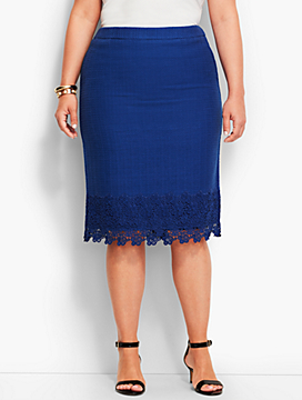 Lace-Hemmed Pencil Skirt