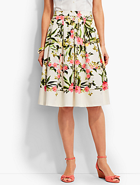 Floral Trellis Pleated Skirt
