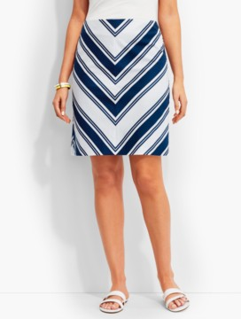 Chevron-Stripe Canvas A-Line Skirt
