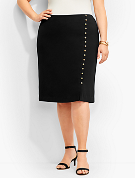 Faux-Wrap Double-Button Skirt