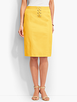 Lace-Up Pencil Skirt-Yellow & Khaki