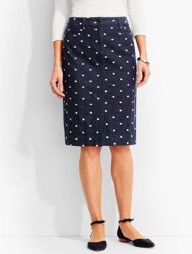 The Denim Pencil Skirt-Polka-Dot Jacquard