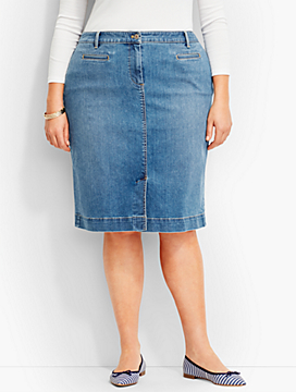 The Denim Pencil Skirt-Clear Sailing Wash