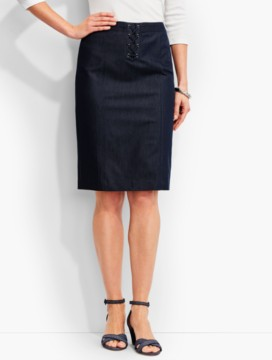 Lace-Up Pencil Skirt-Polished Denim