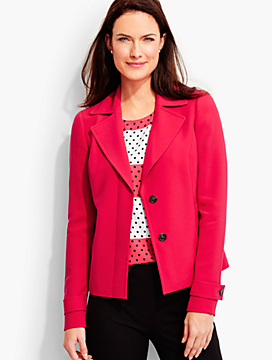 Polished Crepe Notched-Collar Jacket