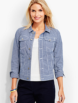 The Classic Denim Jacket-Gingham Print