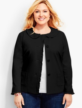 Ruffle-Trimmed Ponte Jacket