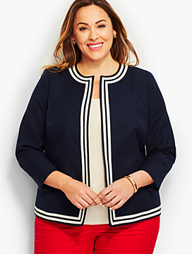 Womans Tipped Basket-Weave Jacket