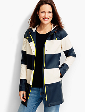 Stripe Hooded Raincoat