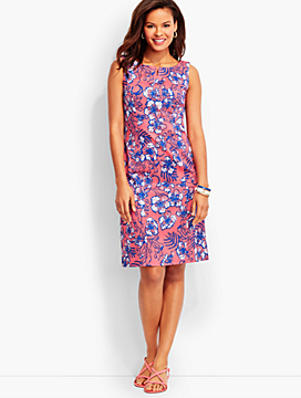 Geranium-Print Pique Dress