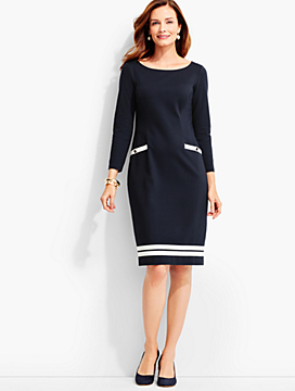 Ribbon-Trimmed Ponte Sheath Dress