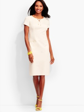 Lace-up Ponte Sheath-Ivory