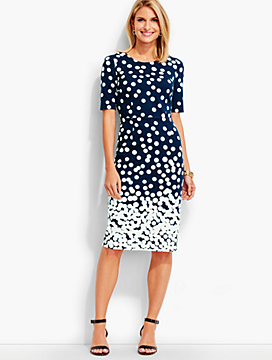 Raining Dots Ponte Sheath Dress