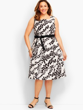 Daisy-Print Matelasse Dress