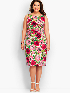 Rose-Print Sheath Dress