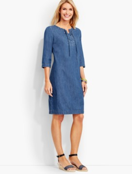 Lace-Up Denim Henley Dress-True Blue Wash