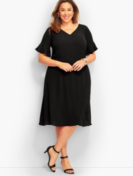 Flounced-Sleeve Fit-And-Flare Dress