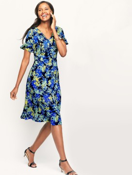 Flounce-Sleeve Floral Dress