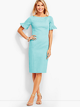 Matelasse Flounce-Sleeve Dress