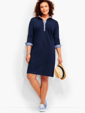 Pique Knit Henley Dress