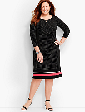 Bella Side-Drape Dress-Dots & Stripes