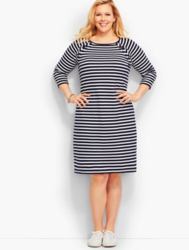 Lace-Up Cotton-Knit Shift Dress-Stripes