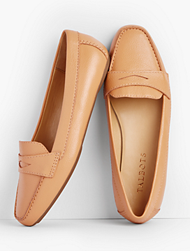 Becca Driving Moccasins-Pebbled Leather