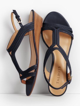 Capri Braided T-Strap Wedges