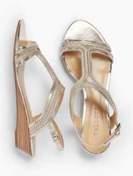 Capri Braided T-Strap Wedges-Metallic Leather